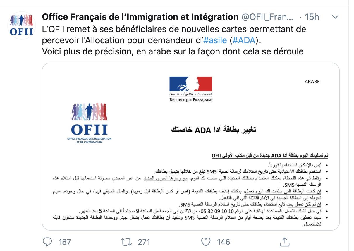 C'est normal que l'Office français de l'immigration communique en arabe ?