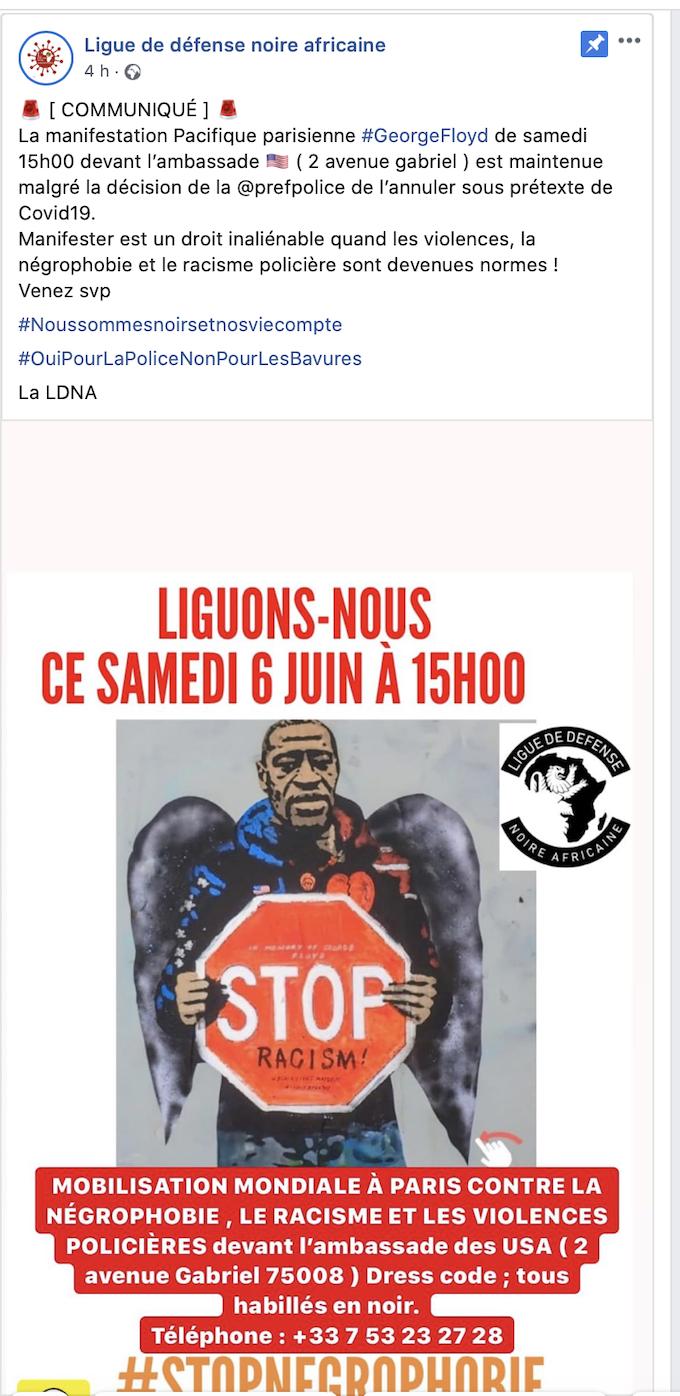 Et si demain c'était la «Ligue de Défense Blanche Européenne»  qui manifestait devant l'ambassade des USA ?