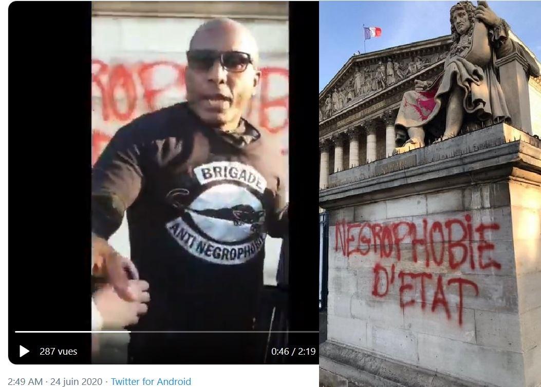 La statue de Colbert vandalisée par la Brigade anti-négrophobie (vidéo)