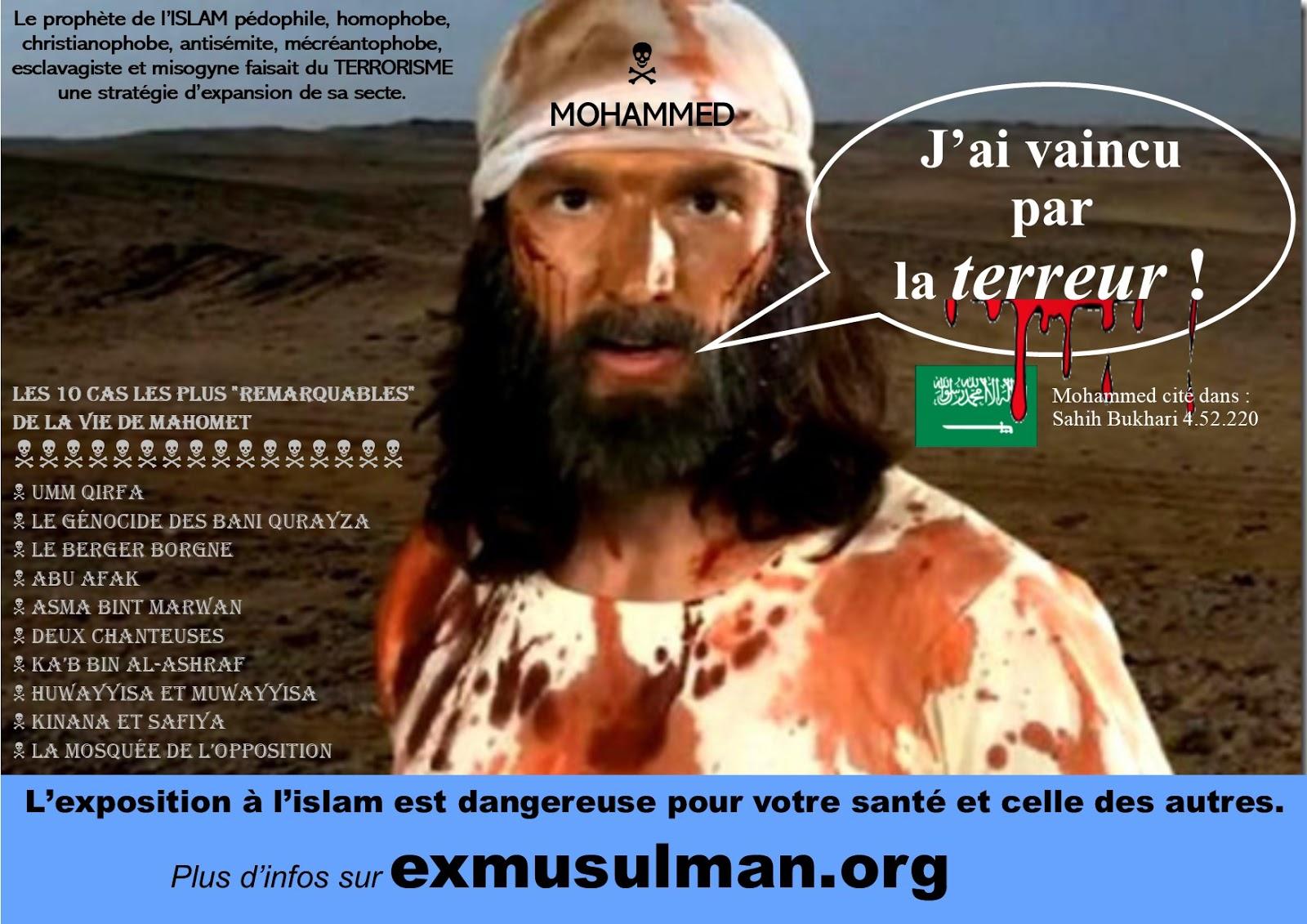 Pour le musulmenteur  Brahim Z,  «des dômes et des minarets», comme Himmler, Mahomet est innocent des meurtres qu'il a ordonnés