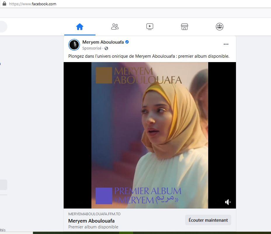 Djihad publicitaire : Facebook sponsorise une voilée chantante, Meryem Aboulouafa !