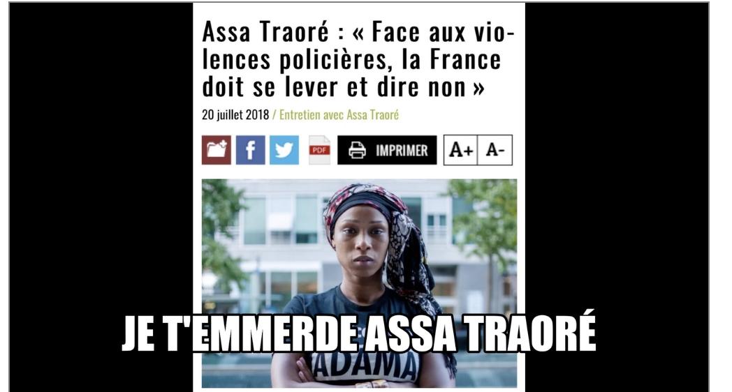 Hymne à la Résistance  : je t'emmerde Assa  Traoré et quelques autres …