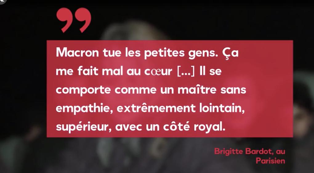 Voici a des pudeurs de pucelle effarouchée devant le prodigieux coup de gueule de Brigitte Bardot contre le gouvernement