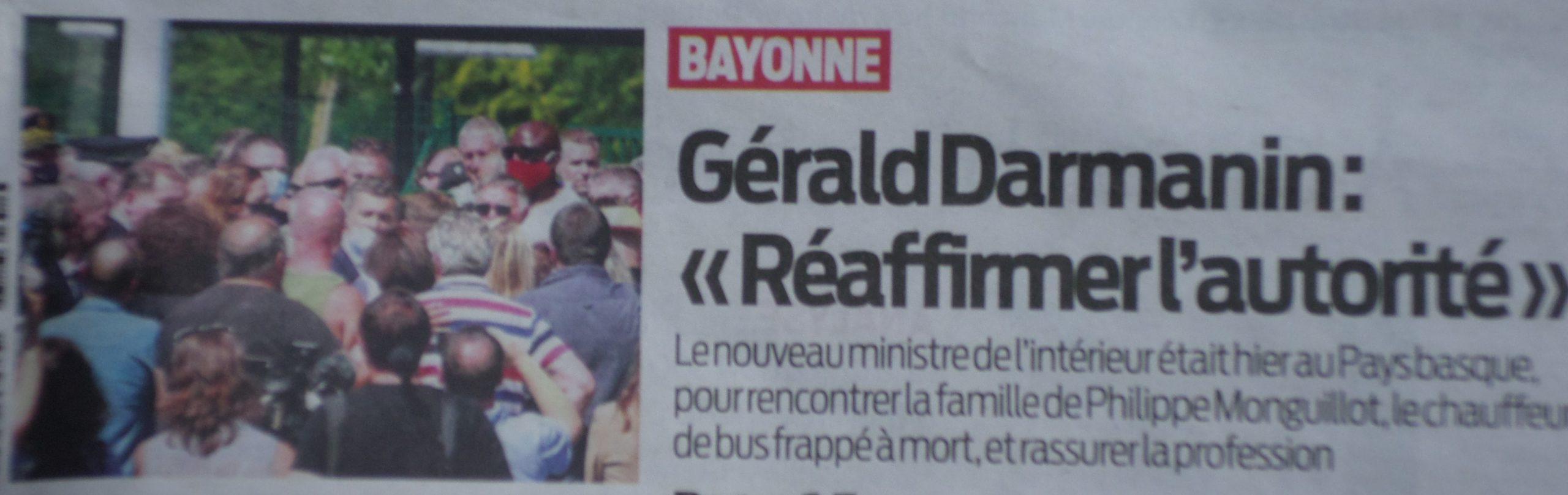 Darmanin à Bayonne ment délibérément à la famille de Philippe pour occulter la réalité