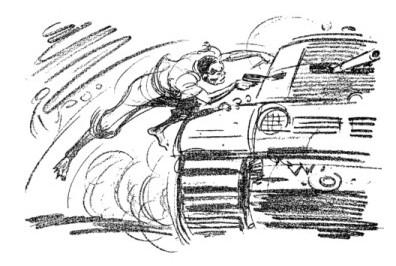 dessin de georges dukson bondissant sur un tank allemand, revolver à la main et abattant le conducteur à bout portant